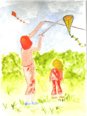 A Watercolor Birthday Card - Flying A Kite
