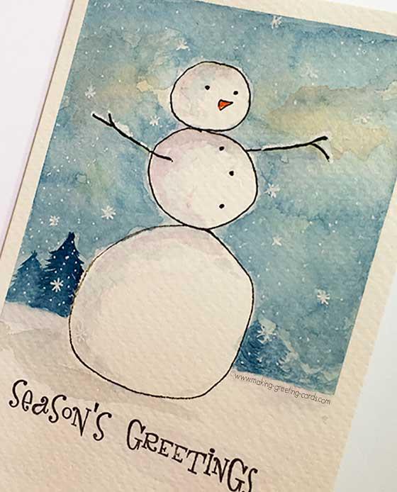 snowman card with border